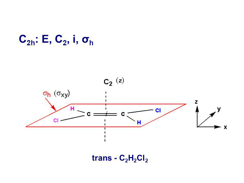 C2h: E, C2, i, σh trans - C2H2Cl2