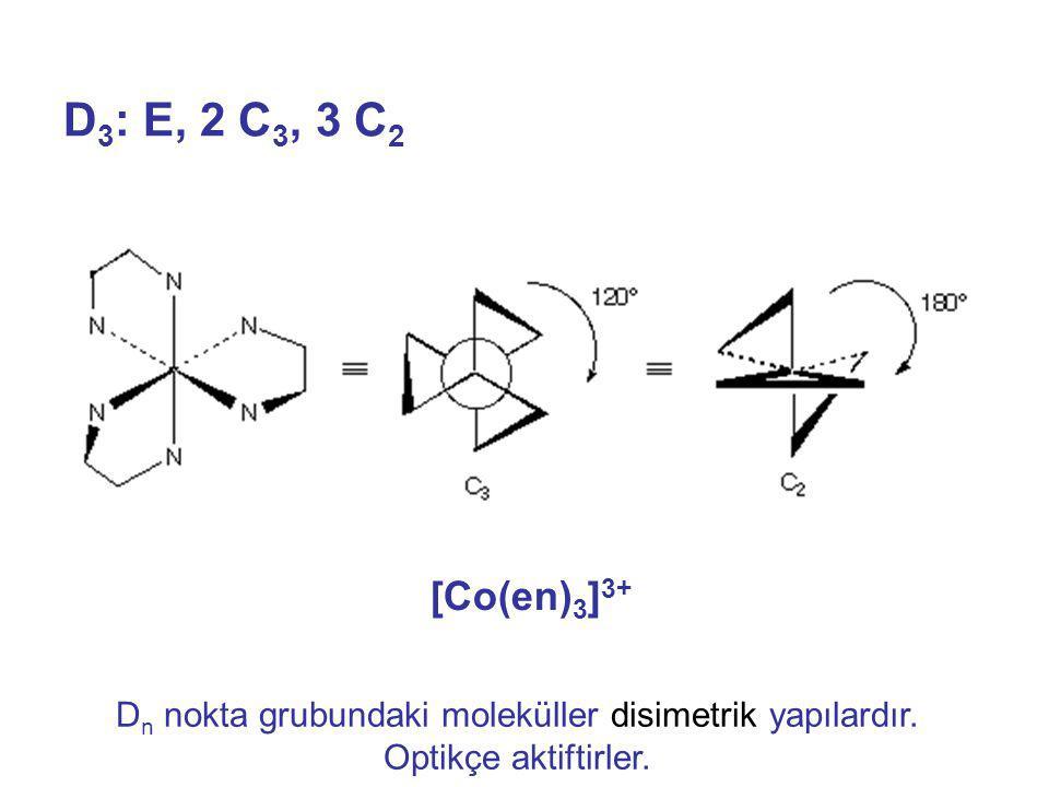 Dn nokta grubundaki moleküller disimetrik yapılardır.