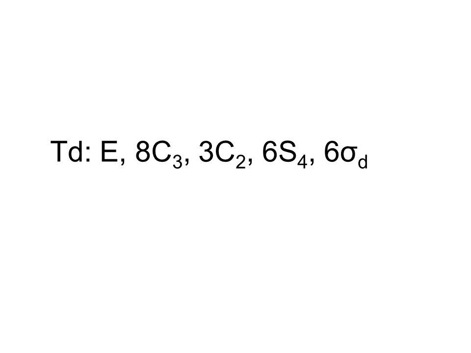 Td: E, 8C3, 3C2, 6S4, 6σd
