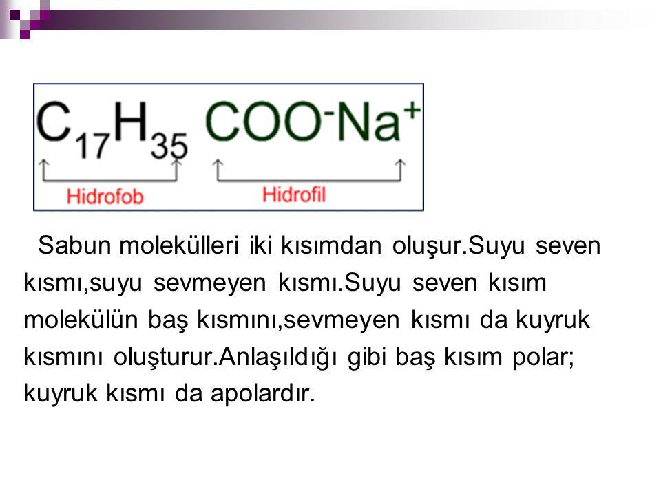 Sabun molekülleri iki kısımdan oluşur.Suyu seven