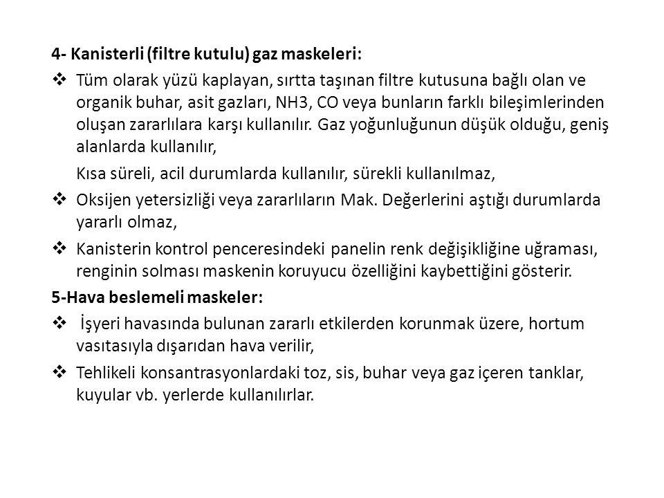 4- Kanisterli (filtre kutulu) gaz maskeleri: