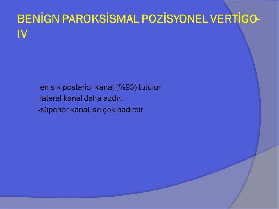 BENİGN PAROKSİSMAL POZİSYONEL VERTİGO-IV