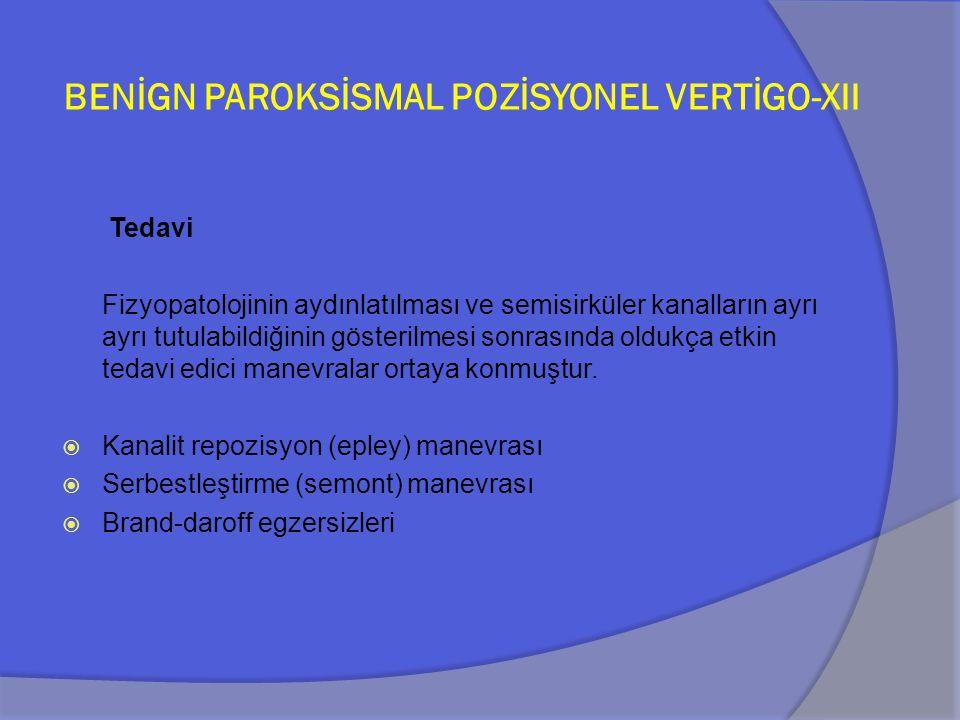 BENİGN PAROKSİSMAL POZİSYONEL VERTİGO-XII