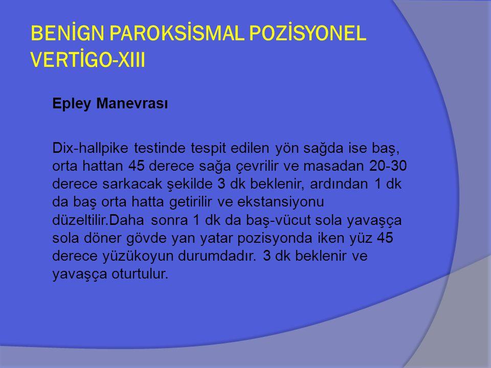 BENİGN PAROKSİSMAL POZİSYONEL VERTİGO-XIII