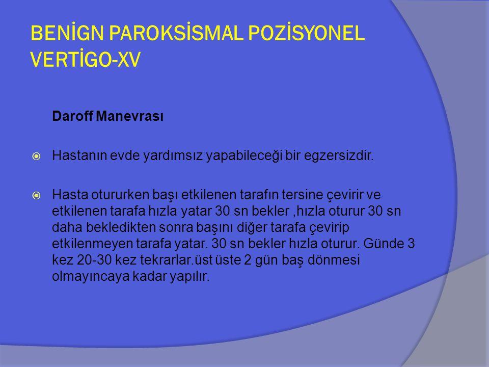 BENİGN PAROKSİSMAL POZİSYONEL VERTİGO-XV