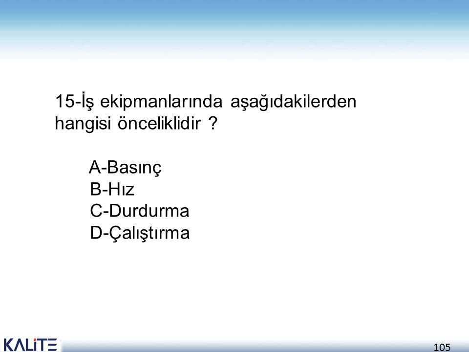 15-İş ekipmanlarında aşağıdakilerden hangisi önceliklidir