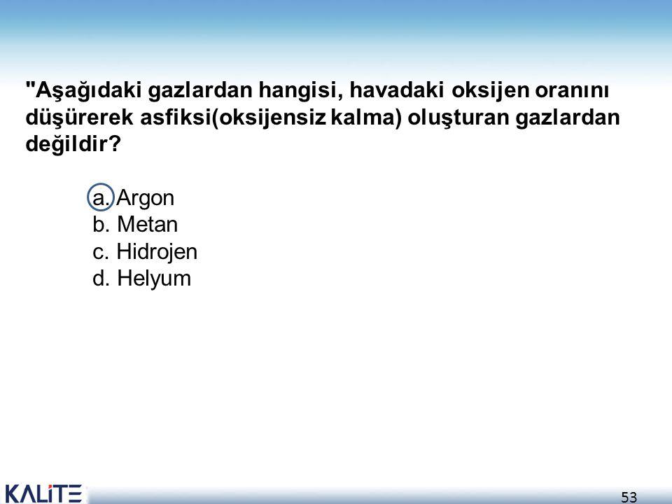 Aşağıdaki gazlardan hangisi, havadaki oksijen oranını düşürerek asfiksi(oksijensiz kalma) oluşturan gazlardan değildir