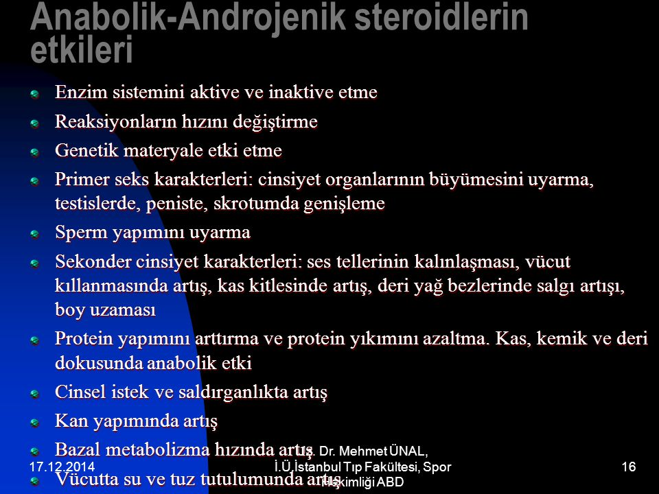 Anabolik-Androjenik steroidlerin etkileri