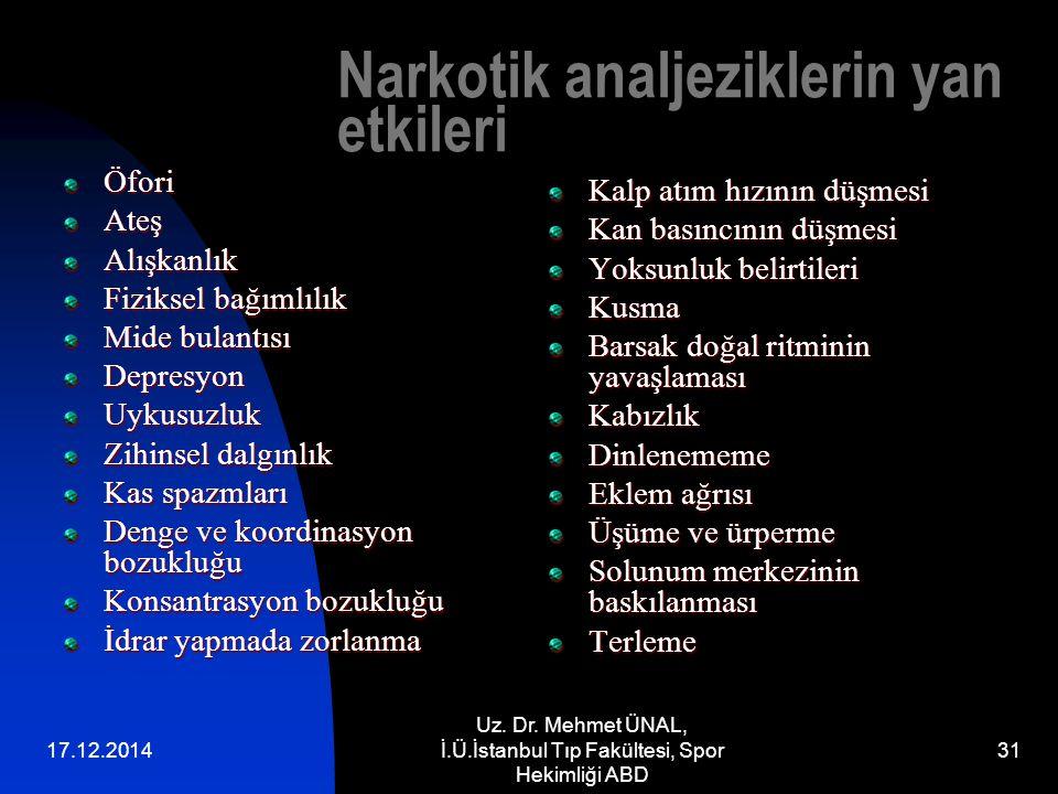 Narkotik analjeziklerin yan etkileri