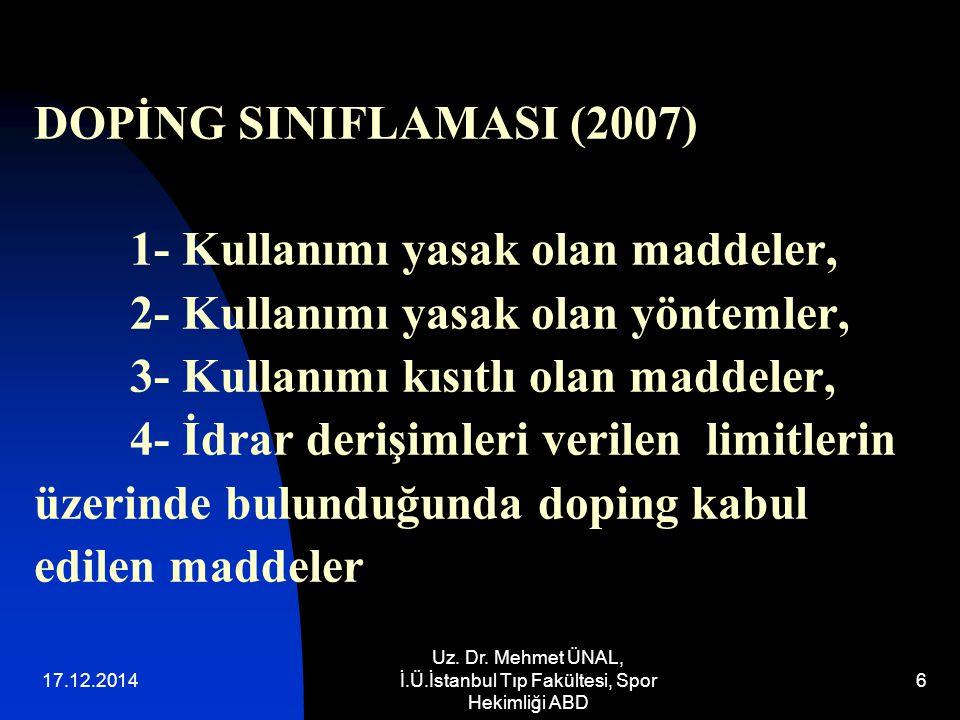 Uz. Dr. Mehmet ÜNAL, İ.Ü.İstanbul Tıp Fakültesi, Spor Hekimliği ABD