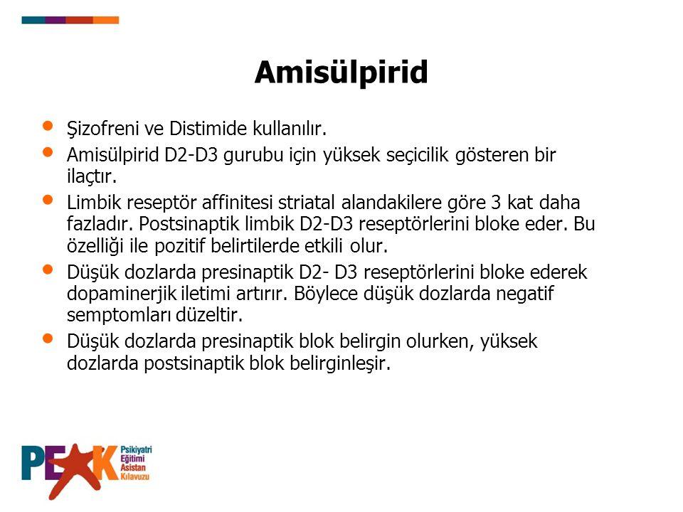 Amisülpirid Şizofreni ve Distimide kullanılır.