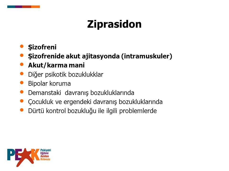 Ziprasidon Şizofreni Şizofrenide akut ajitasyonda (intramuskuler)