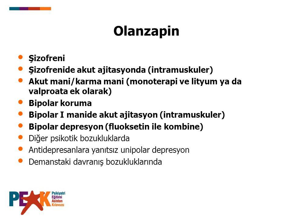 Olanzapin Şizofreni Şizofrenide akut ajitasyonda (intramuskuler)
