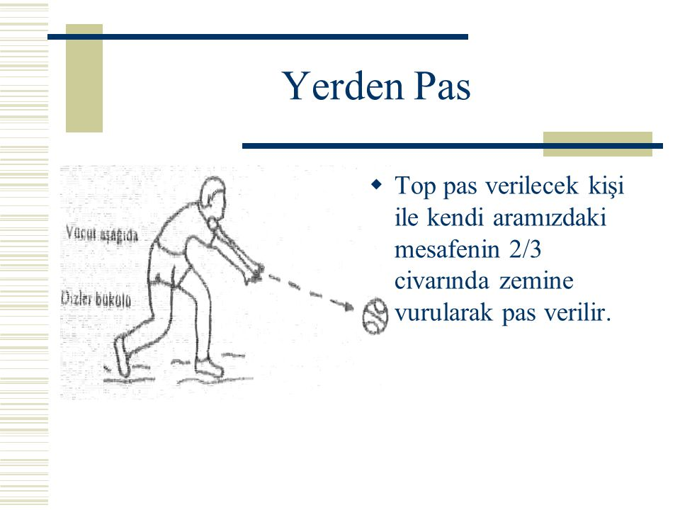 Yerden Pas Top pas verilecek kişi ile kendi aramızdaki mesafenin 2/3 civarında zemine vurularak pas verilir.