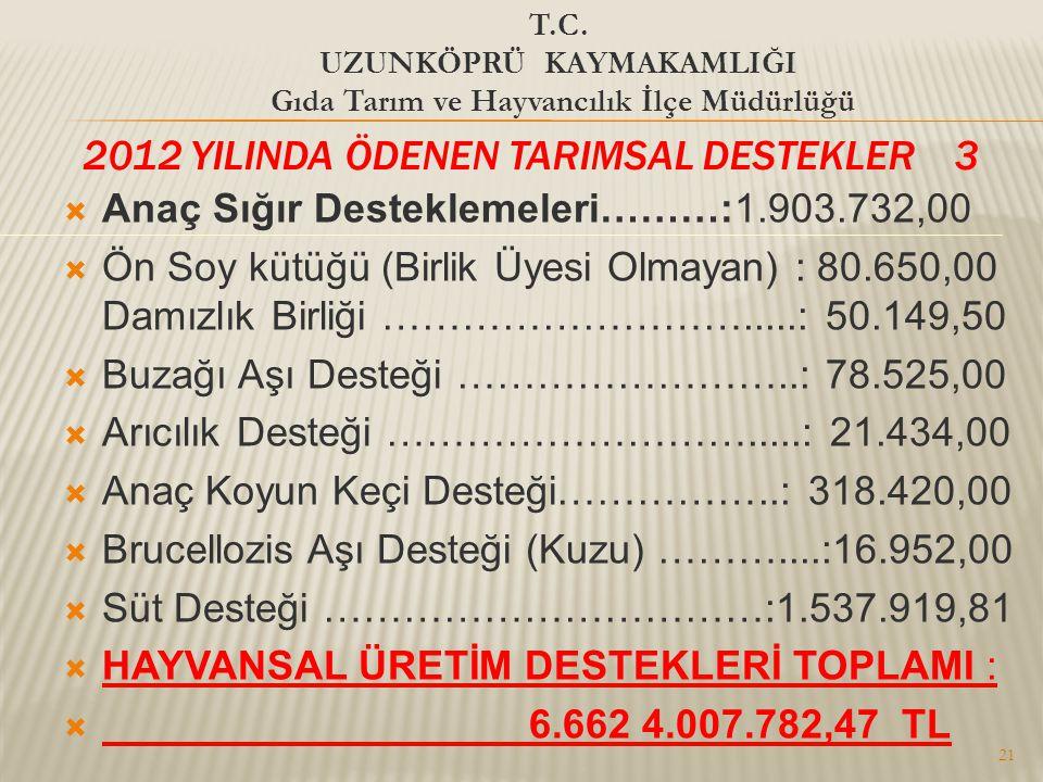 2012 YILINDA ÖDENEN TARIMSAL DESTEKLER 3