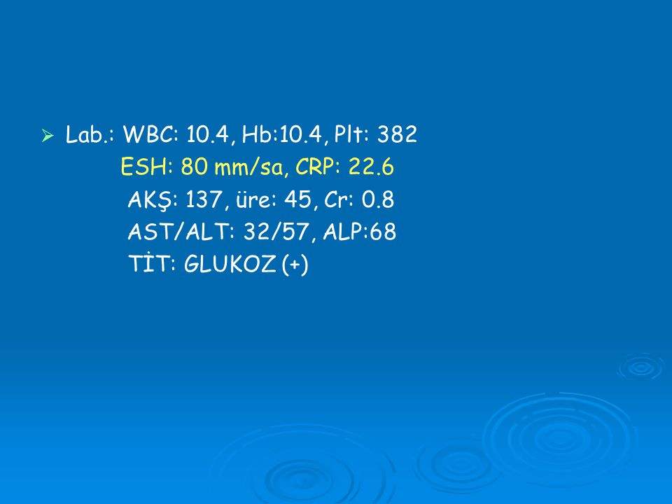 Lab.: WBC: 10.4, Hb:10.4, Plt: 382 ESH: 80 mm/sa, CRP: 22.6. AKŞ: 137, üre: 45, Cr: 0.8. AST/ALT: 32/57, ALP:68.