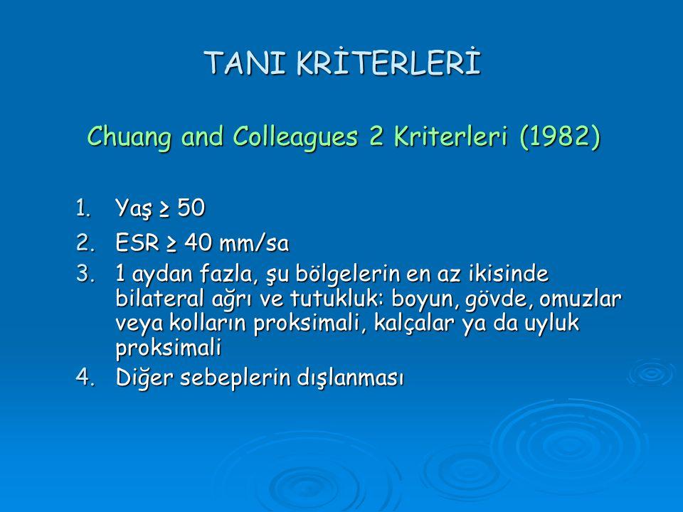 TANI KRİTERLERİ Chuang and Colleagues 2 Kriterleri (1982) Yaş ≥ 50