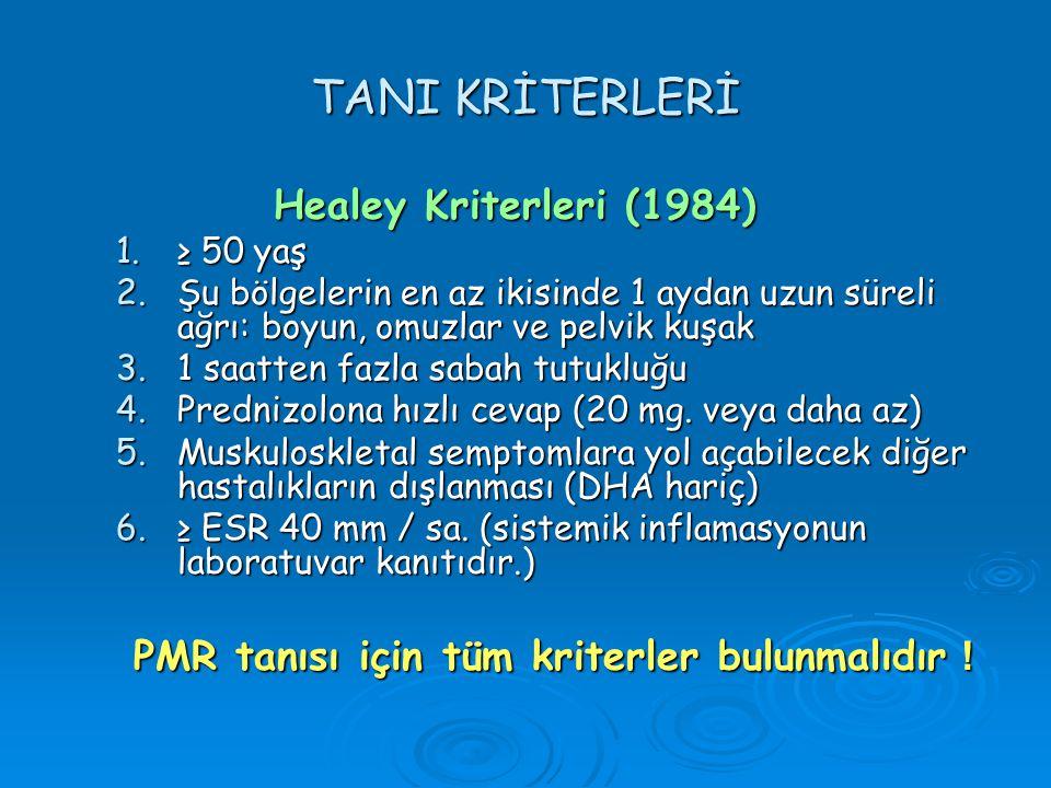 TANI KRİTERLERİ Healey Kriterleri (1984)