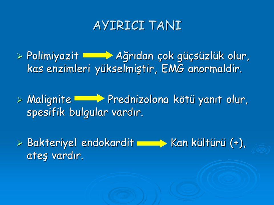 AYIRICI TANI Polimiyozit Ağrıdan çok güçsüzlük olur, kas enzimleri yükselmiştir, EMG anormaldir.