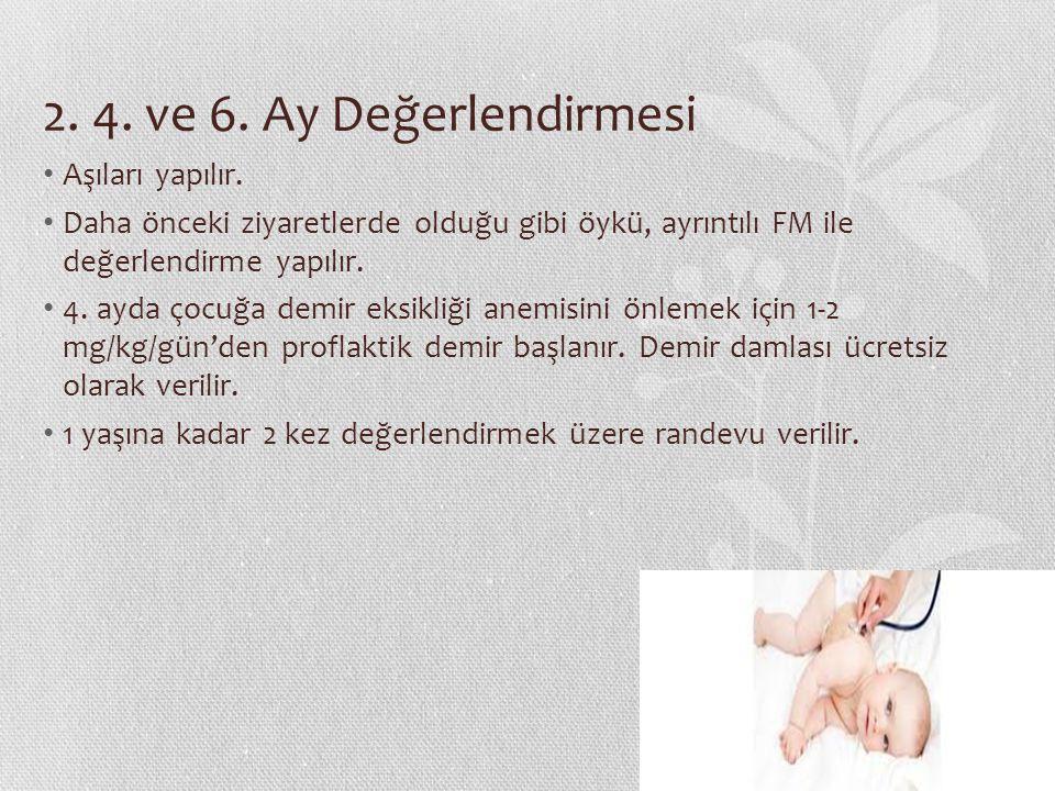 2. 4. ve 6. Ay Değerlendirmesi Aşıları yapılır.