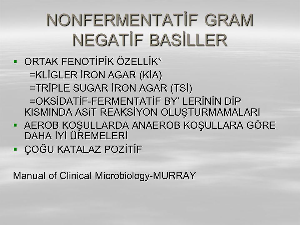 NONFERMENTATİF GRAM NEGATİF BASİLLER