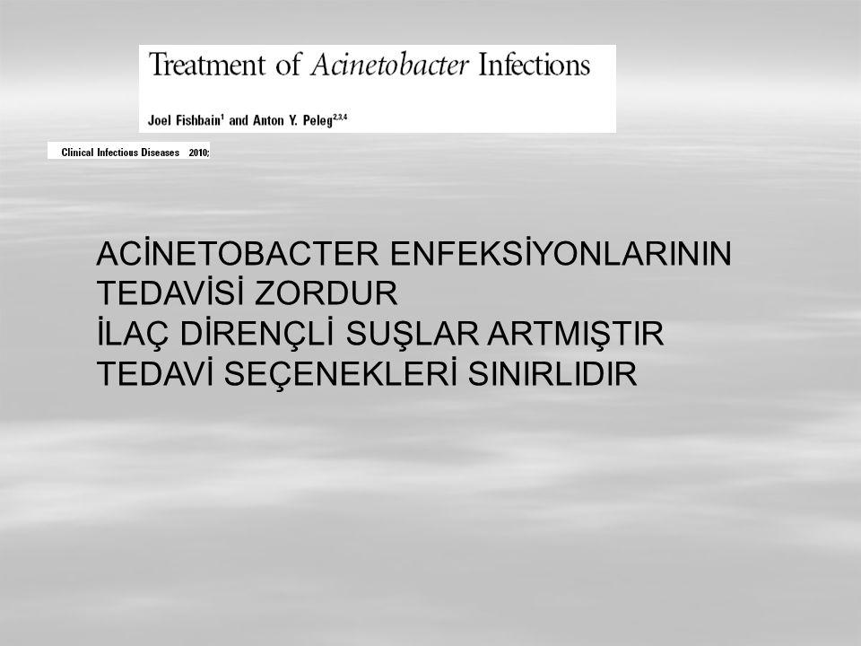 ACİNETOBACTER ENFEKSİYONLARININ TEDAVİSİ ZORDUR