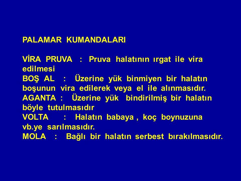 PALAMAR KUMANDALARI VİRA PRUVA : Pruva halatının ırgat ile vira edilmesi.