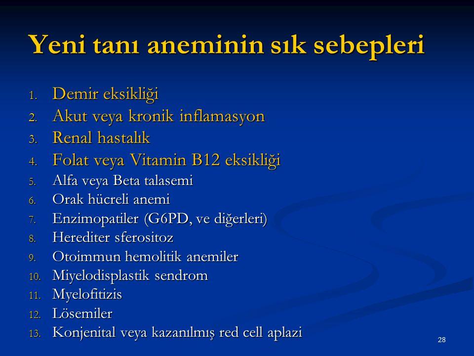 Yeni tanı aneminin sık sebepleri