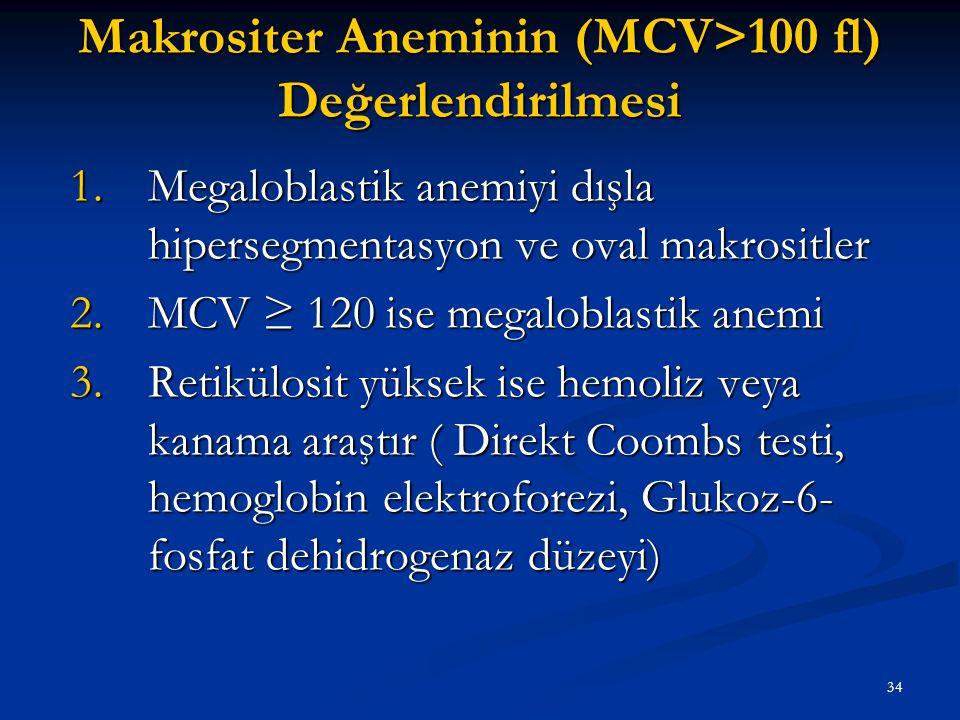 Makrositer Aneminin (MCV>100 fl) Değerlendirilmesi