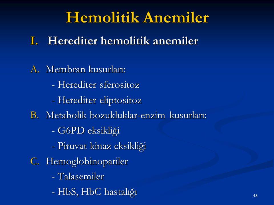 Hemolitik Anemiler Herediter hemolitik anemiler Membran kusurları: