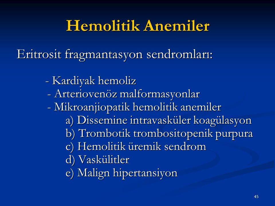 Hemolitik Anemiler Eritrosit fragmantasyon sendromları: