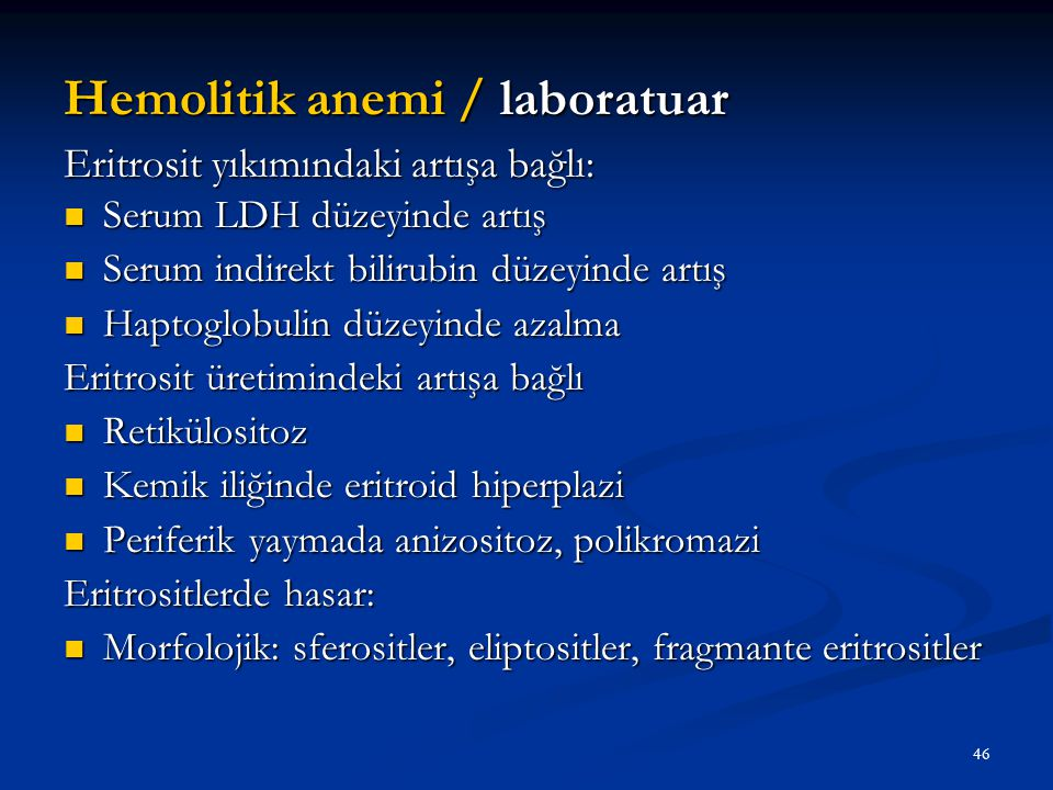 Hemolitik anemi / laboratuar