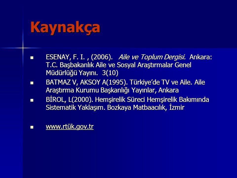 Kaynakça ESENAY, F. I. , (2006). Aile ve Toplum Dergisi. Ankara: T.C. Başbakanlık Aile ve Sosyal Araştırmalar Genel Müdürlüğü Yayını. 3(10)