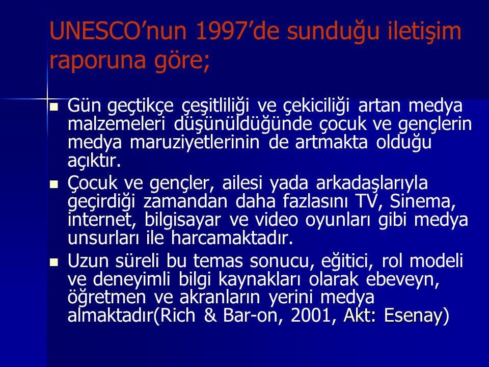 UNESCO'nun 1997'de sunduğu iletişim raporuna göre;