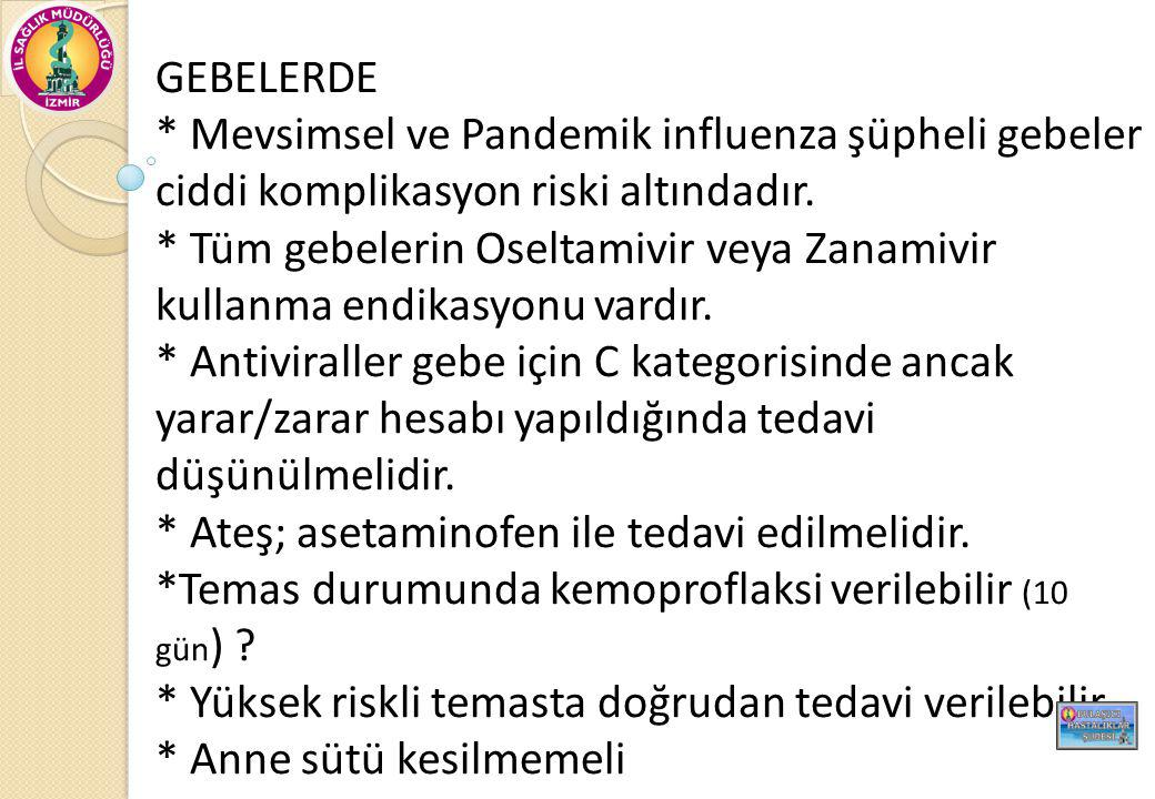 GEBELERDE * Mevsimsel ve Pandemik influenza şüpheli gebeler ciddi komplikasyon riski altındadır.
