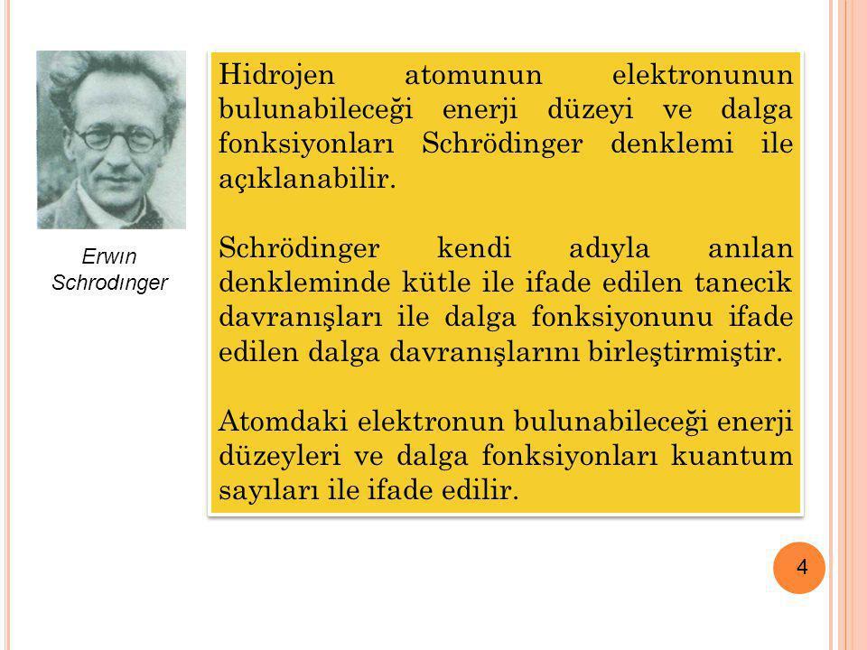 Hidrojen atomunun elektronunun bulunabileceği enerji düzeyi ve dalga fonksiyonları Schrödinger denklemi ile açıklanabilir.