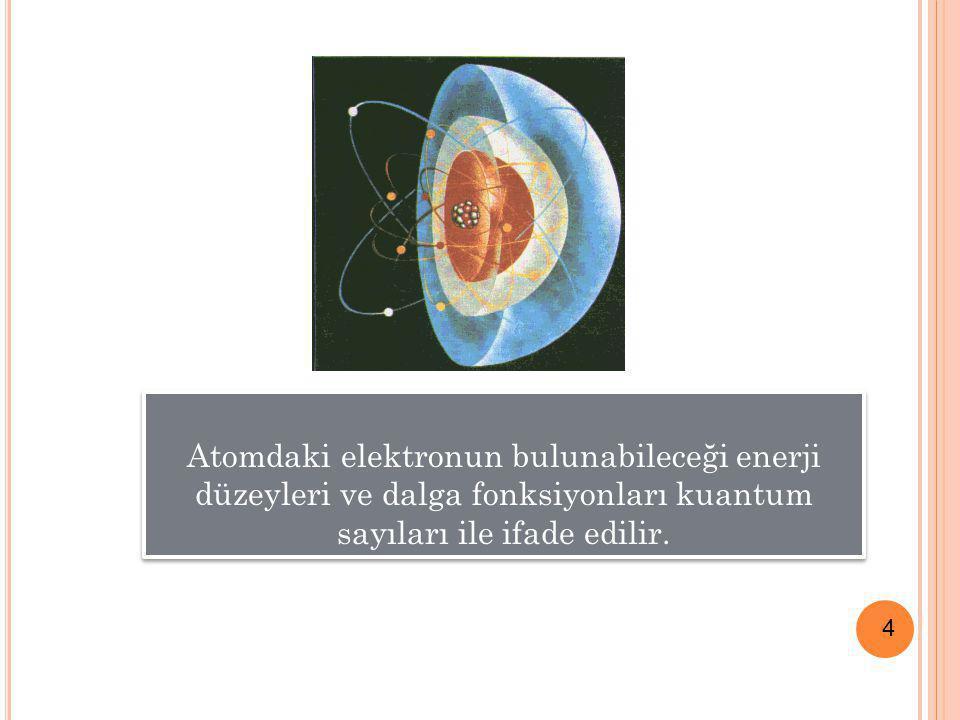 Atomdaki elektronun bulunabileceği enerji düzeyleri ve dalga fonksiyonları kuantum sayıları ile ifade edilir.