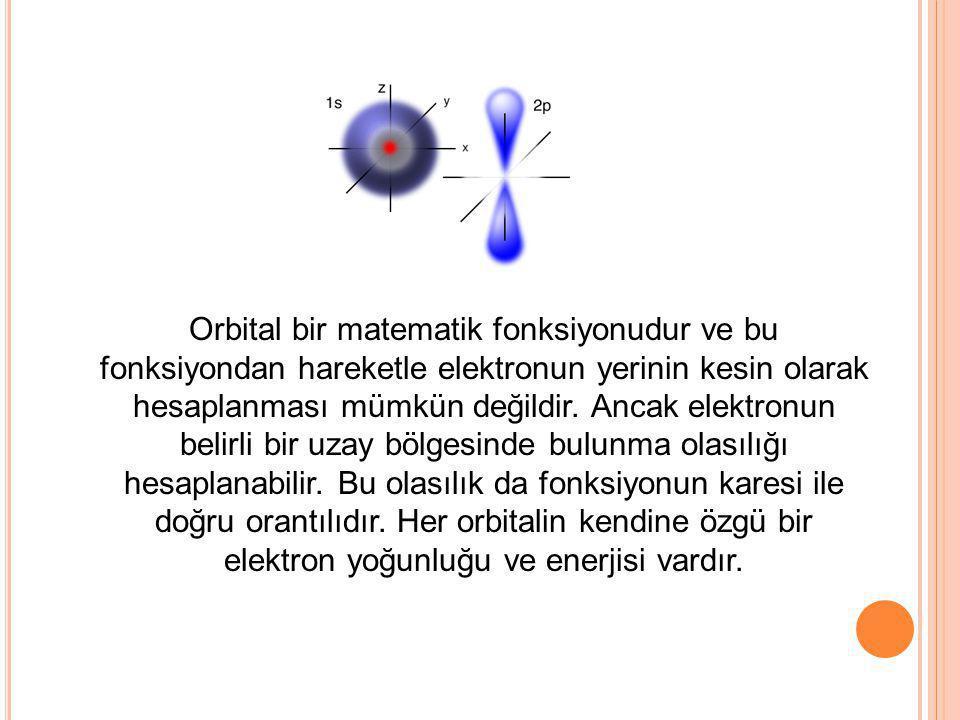 Orbital bir matematik fonksiyonudur ve bu fonksiyondan hareketle elektronun yerinin kesin olarak hesaplanması mümkün değildir. Ancak elektronun belirli bir uzay bölgesinde bulunma olasılığı hesaplanabilir. Bu olasılık da fonksiyonun karesi ile doğru orantılıdır. Her orbitalin kendine özgü bir elektron yoğunluğu ve enerjisi vardır.