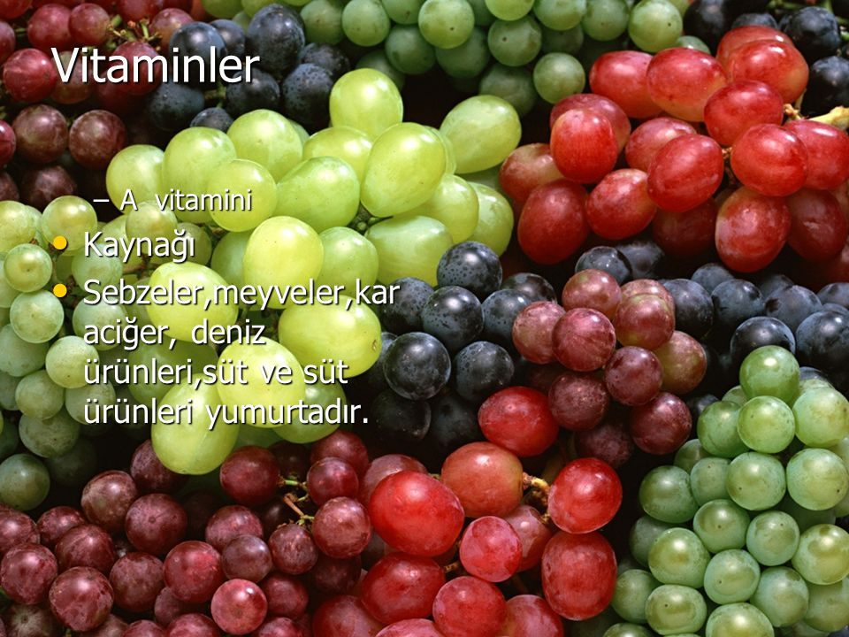 Vitaminler A vitamini. Kaynağı.