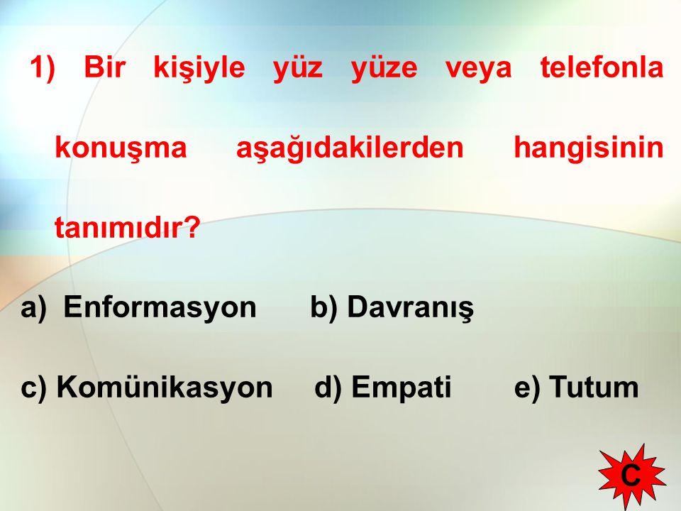 1) Bir kişiyle yüz yüze veya telefonla konuşma aşağıdakilerden hangisinin tanımıdır