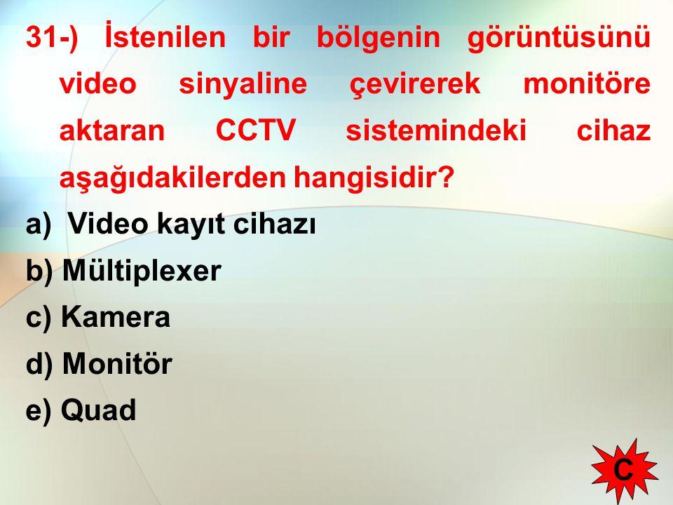 31-) İstenilen bir bölgenin görüntüsünü video sinyaline çevirerek monitöre aktaran CCTV sistemindeki cihaz aşağıdakilerden hangisidir