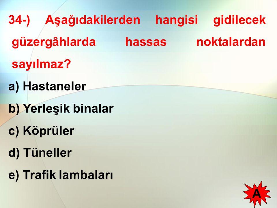 34-) Aşağıdakilerden hangisi gidilecek güzergâhlarda hassas noktalardan sayılmaz