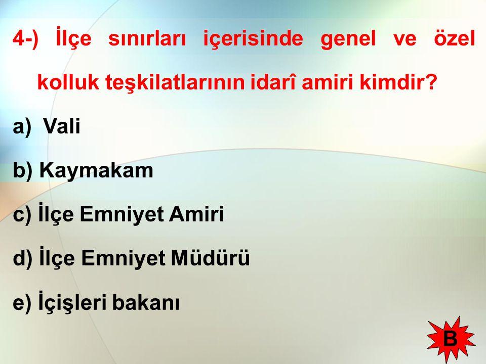 4-) İlçe sınırları içerisinde genel ve özel kolluk teşkilatlarının idarî amiri kimdir