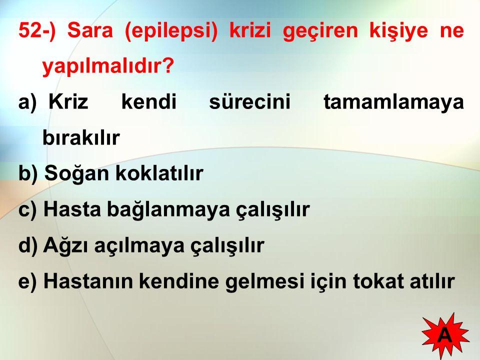 52-) Sara (epilepsi) krizi geçiren kişiye ne yapılmalıdır