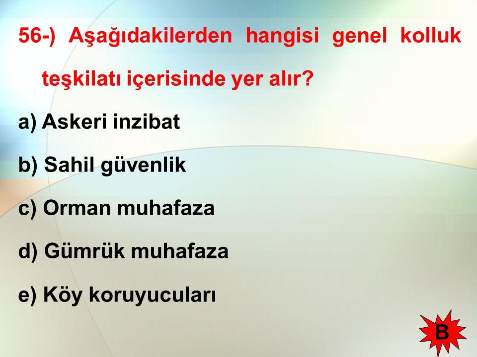 56-) Aşağıdakilerden hangisi genel kolluk teşkilatı içerisinde yer alır