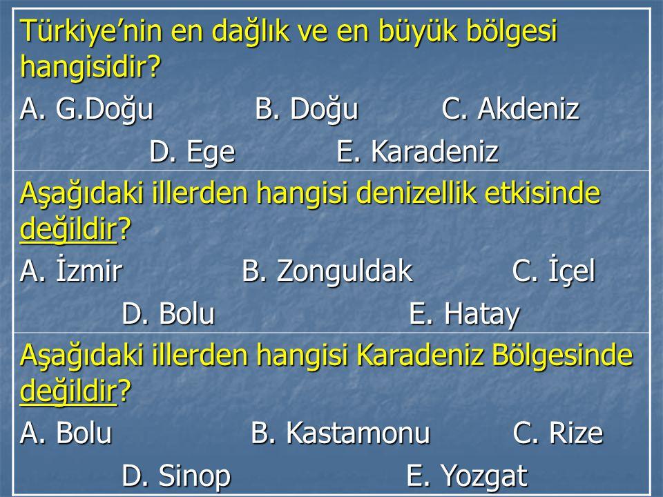 Türkiye'nin en dağlık ve en büyük bölgesi hangisidir