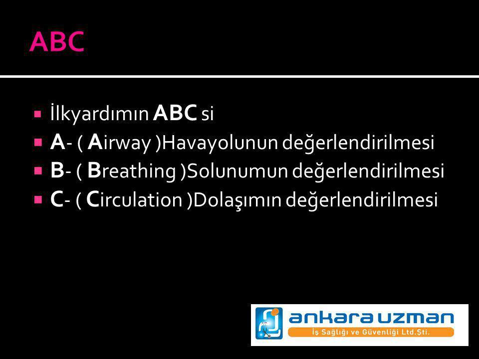 ABC A- ( Airway )Havayolunun değerlendirilmesi