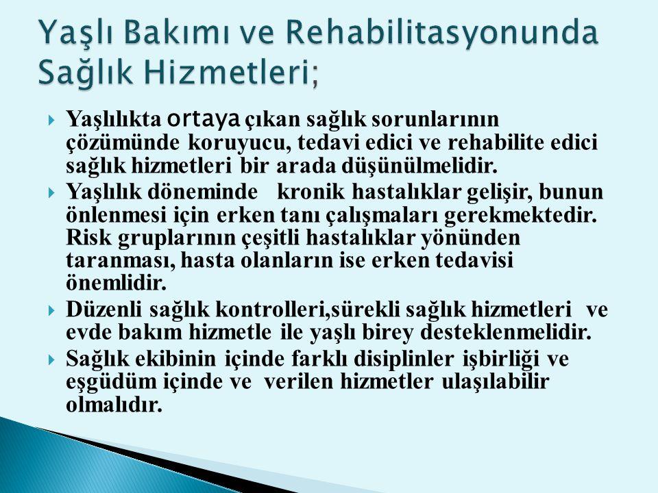 Yaşlı Bakımı ve Rehabilitasyonunda Sağlık Hizmetleri;