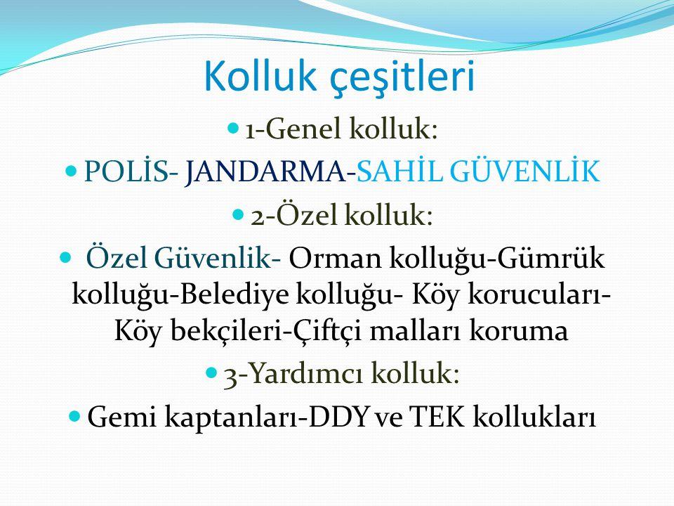 Kolluk çeşitleri 1-Genel kolluk: POLİS- JANDARMA-SAHİL GÜVENLİK