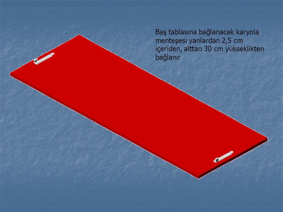 Baş tablasına bağlanacak karyola menteşesi yanlardan 2,5 cm içeriden, alttan 30 cm yükseklikten bağlanır